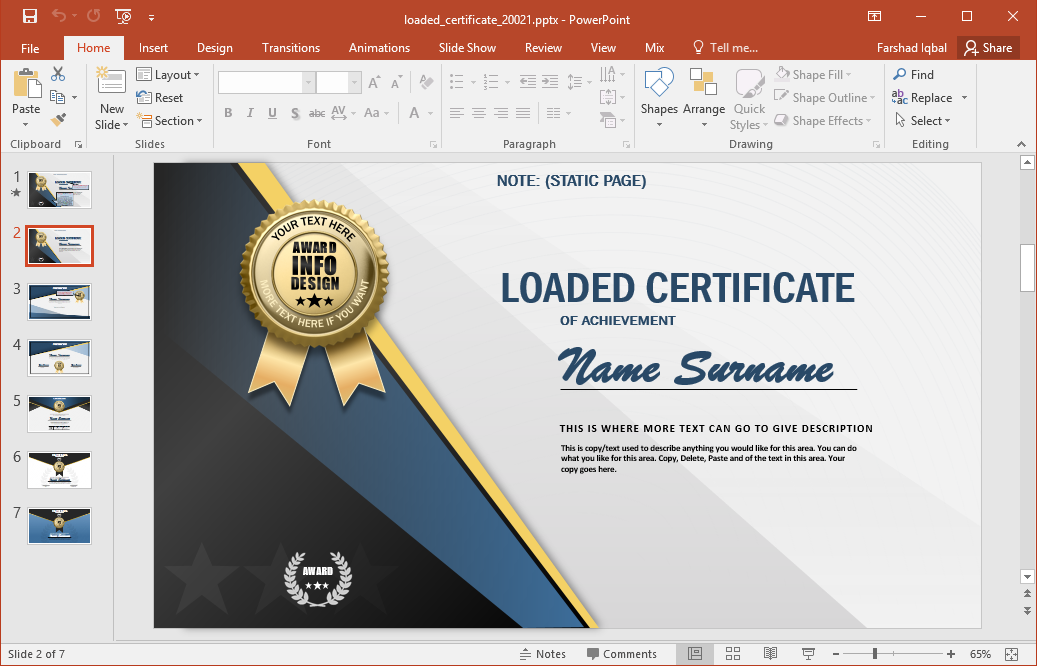 Animated certificate powerpoint template for Award certificate template powerpoint