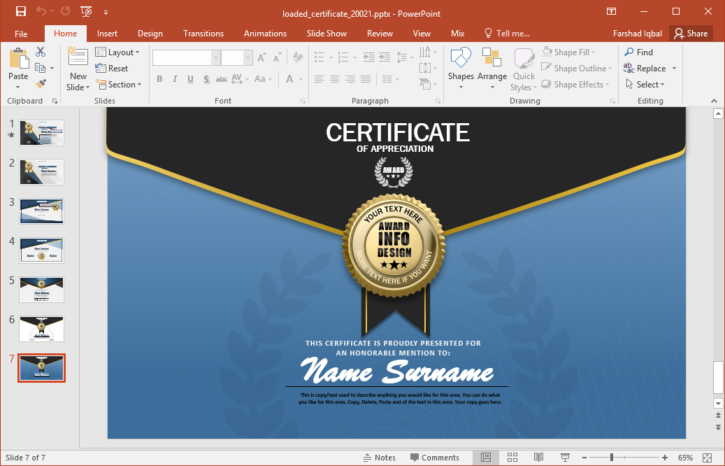 animated certificate powerpoint template. Black Bedroom Furniture Sets. Home Design Ideas