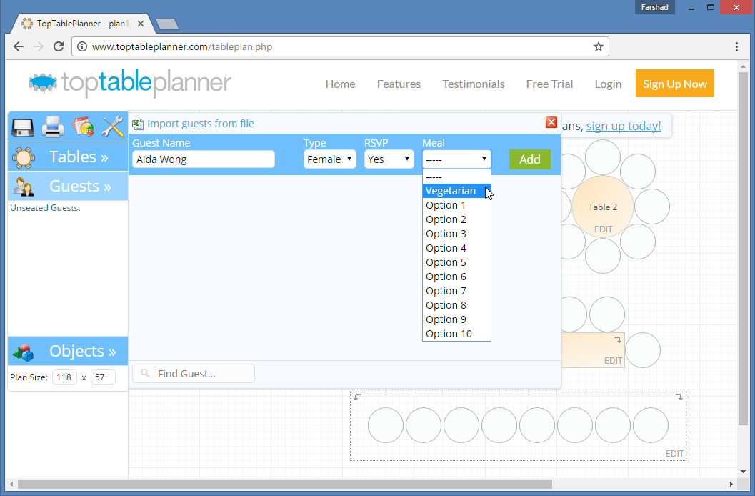 Design guest list with TopTablePlanner