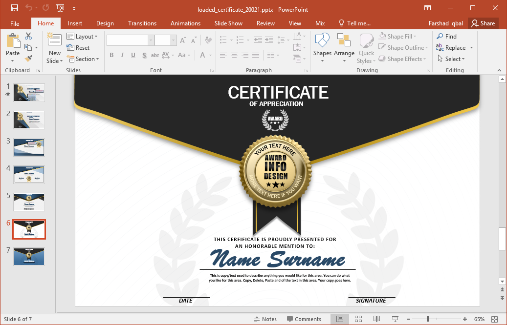 Powerpoint excellence award template images powerpoint for Award certificate template powerpoint