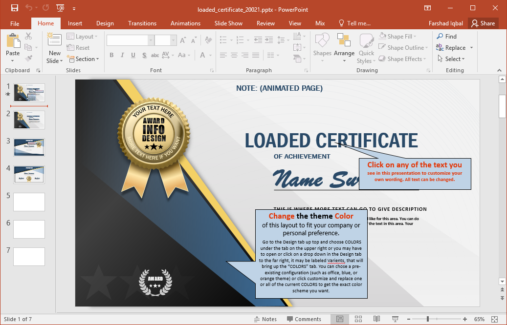 Animated certificate powerpoint template editable certificate layouts yelopaper Gallery