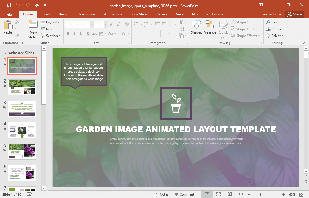 Animated garden template for powerpoint the slides also come with animations so your added content can stand out when presented in the form of a slideshow toneelgroepblik Image collections