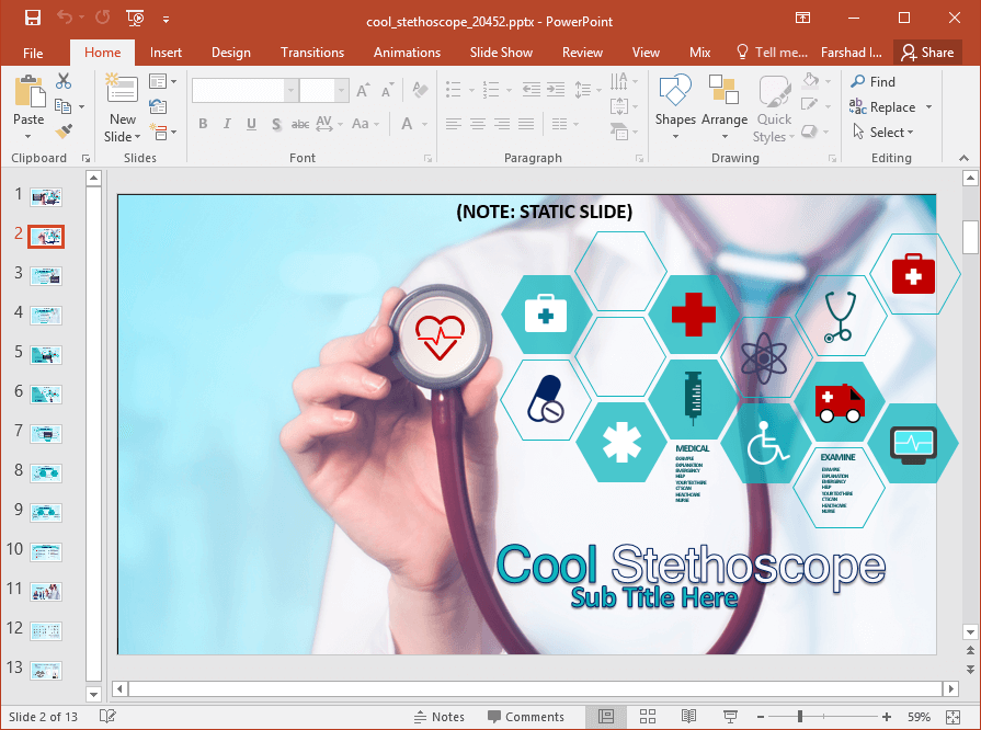 Animated medical images powerpoint template infographic like slide designs and clipart for designing healthcare themed slides cool stethoscope is an animated medical images powerpoint template toneelgroepblik Image collections