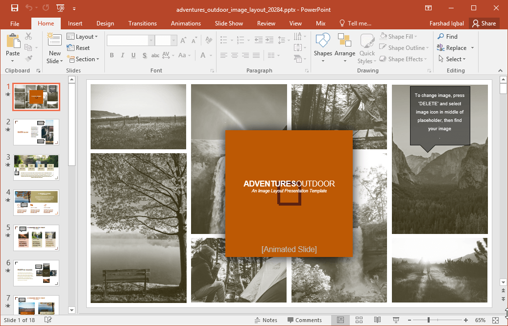 Adventures Outdoor Image Template For PowerPoint