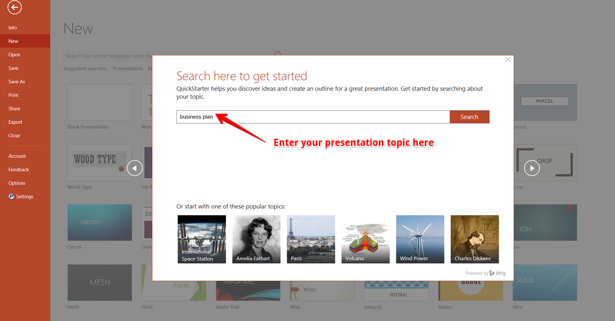 PowerPoint Quick Start Window UI Interface