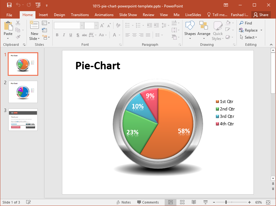 3d Pie Chart For Powerpoint Slides Fppt