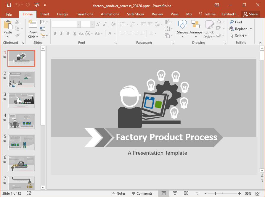 Animated Factory Production Powerpoint Template