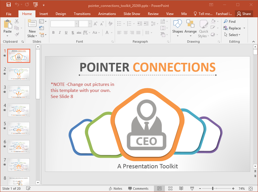 Animated Pointer Connections Template For PowerPoint