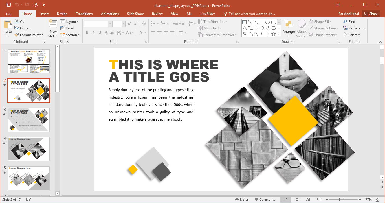 diamond shape layouts for powerpoint fppt