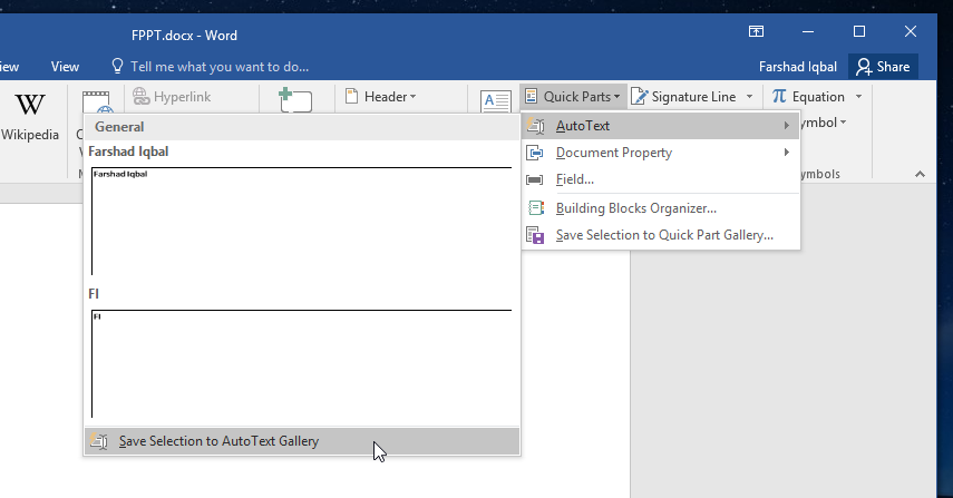 How To Insert Custom Quick Parts in Word