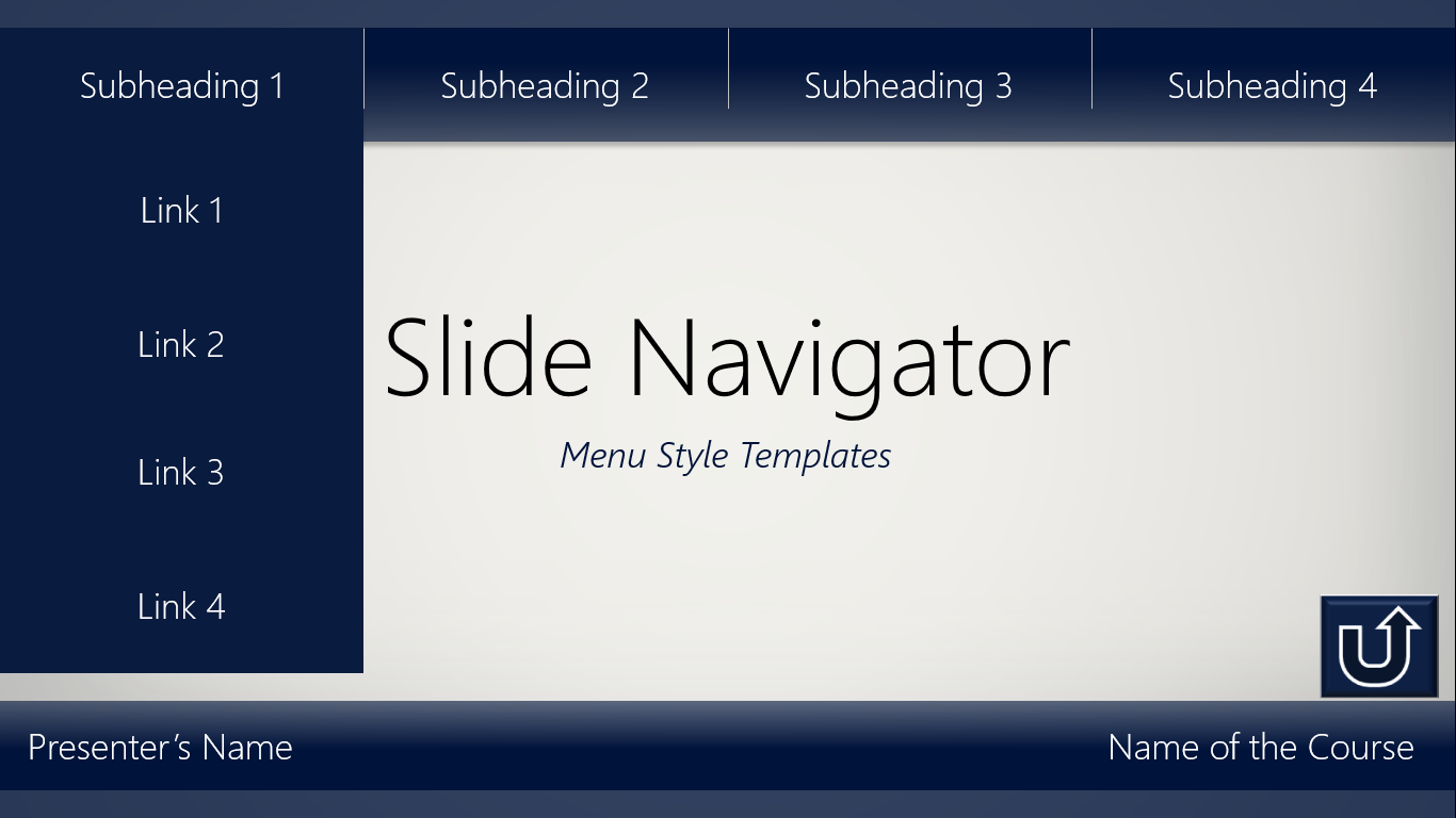 slide menus of slide navigator templates