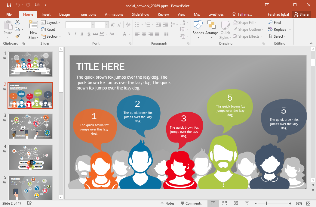 animated social network powerpoint template, Presentation templates