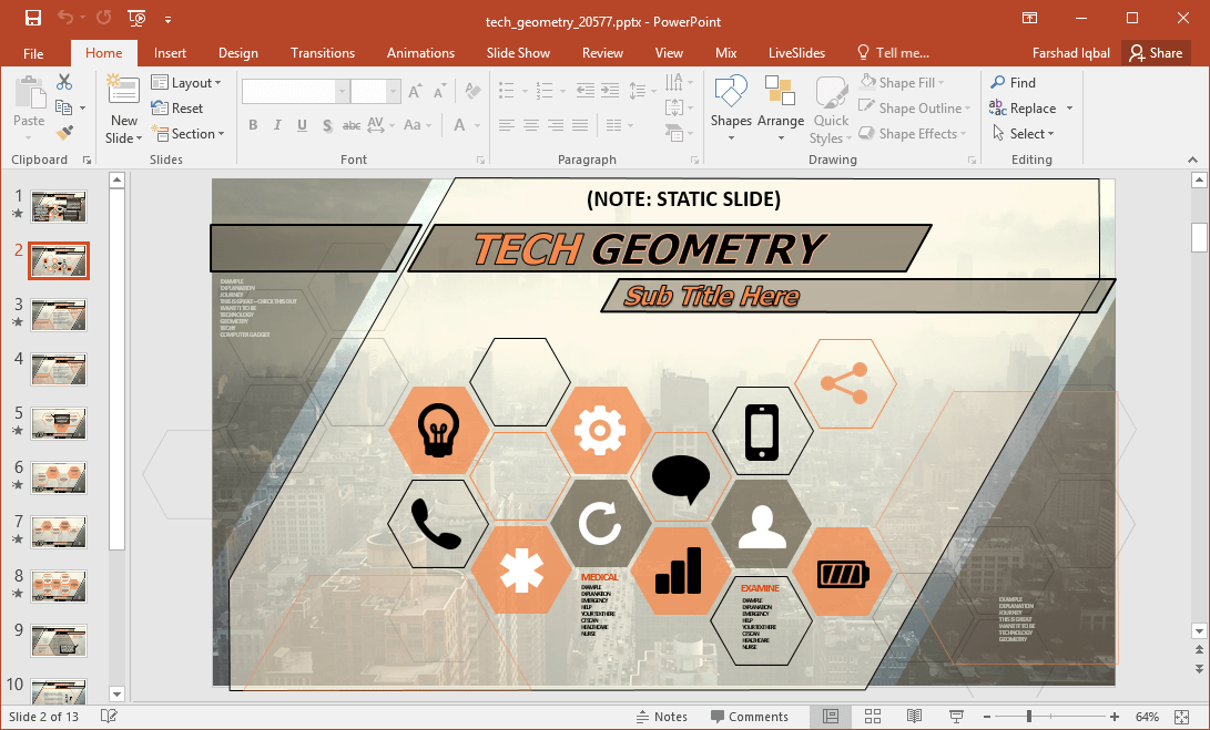 animated tech geometry powerpoint template
