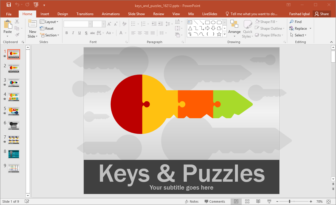 animated keys and puzzle powerpoint template