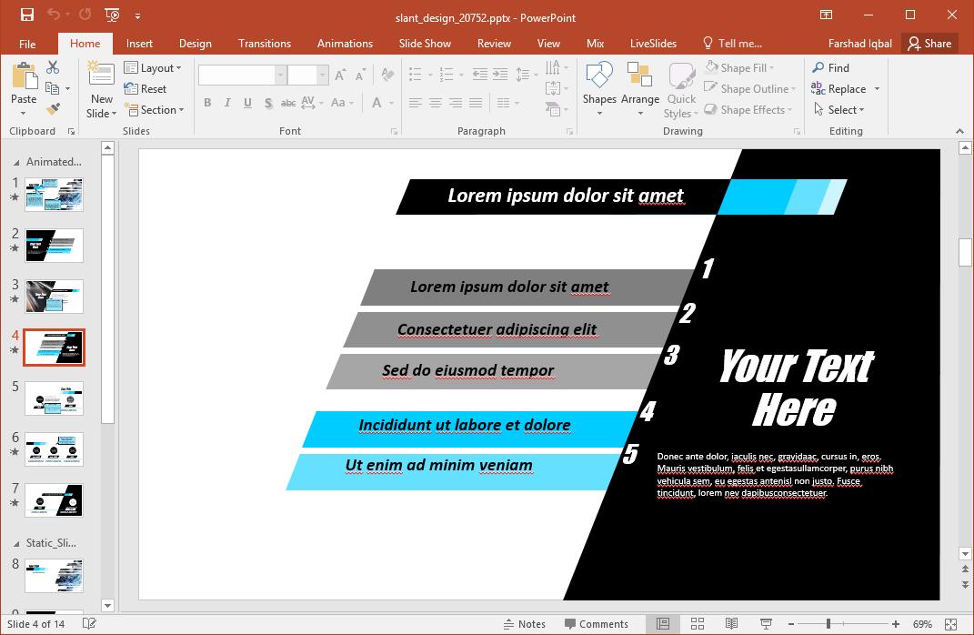 sample list slide