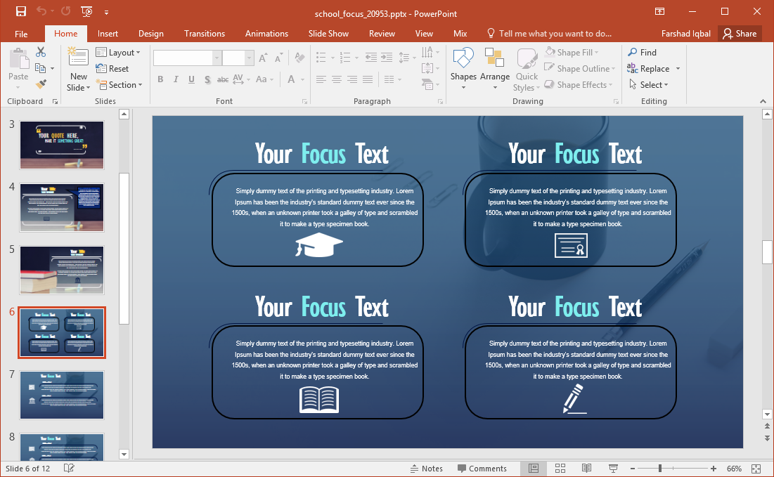 design your slides with a school themed layout