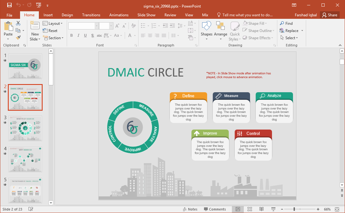 Animated Six Sigma PowerPoint Template