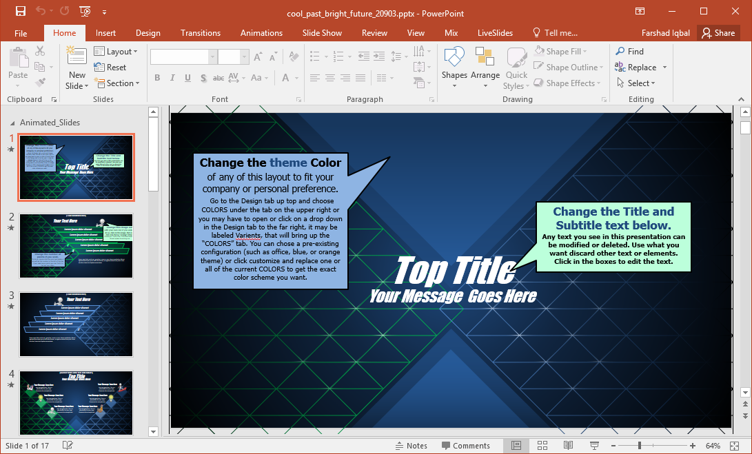 edit past bright future powerpoint template