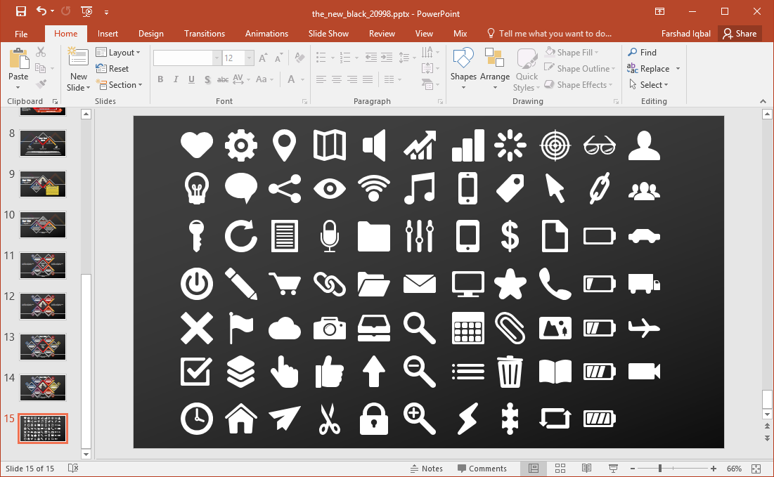icons slide with different symbols