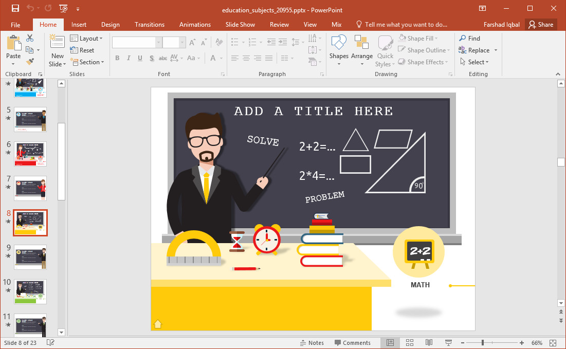 Animated education subjects powerpoint template math slide toneelgroepblik Gallery