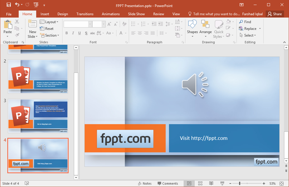 how to hide speaker icon in powerpoint slideshow mode