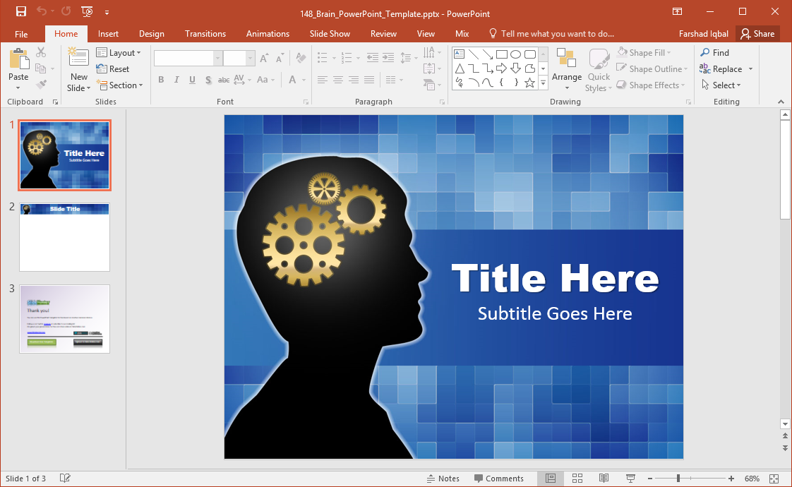 brain and cogs powerpoint template