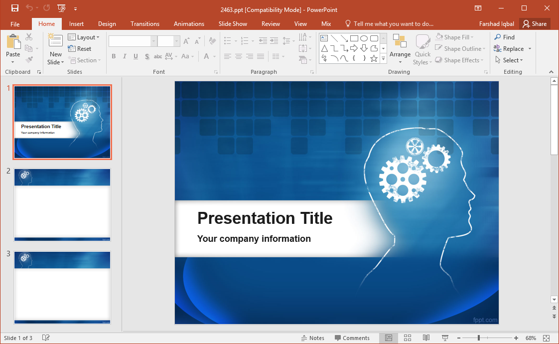 Brain And Gears Powerpoint Template Fppt