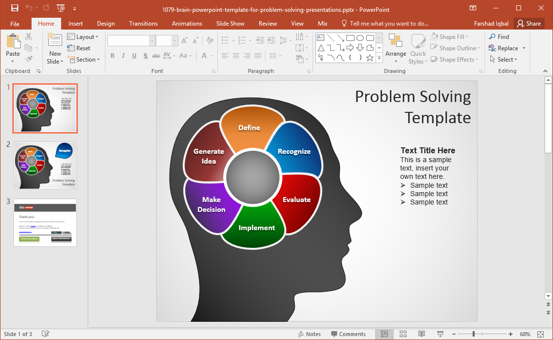 Brain Mind Map Powerpoint Template Fppt