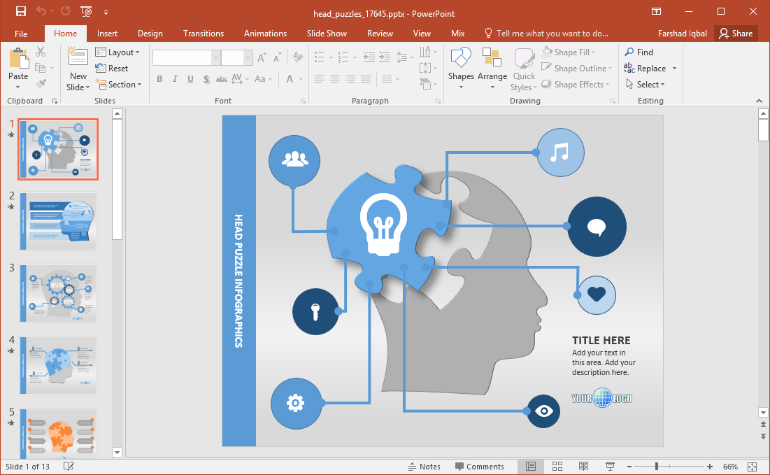 puzzle brain powerpoint template