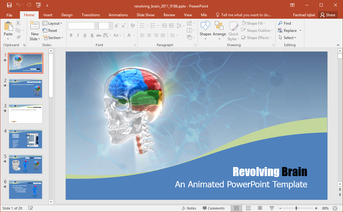 revolving brain powerpoint template