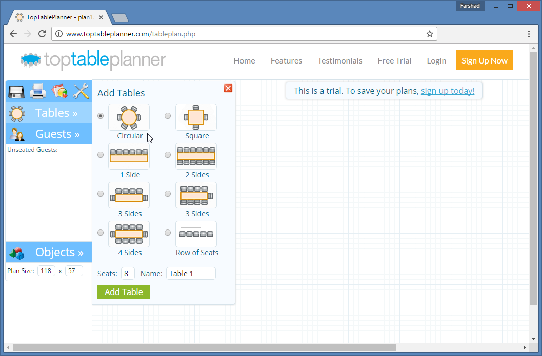 top table planner web app