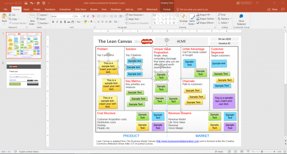 Free Lean Canvas Powerpoint Template Fppt