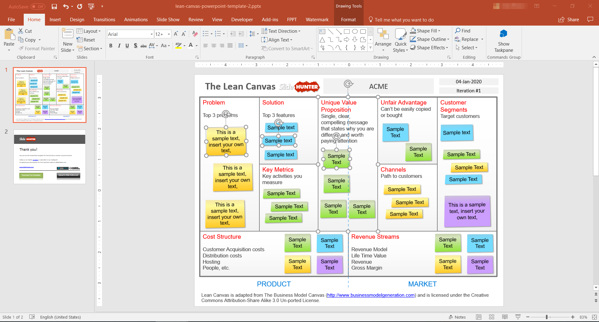 Free editable lean canvas template for PowerPoint - 4x3 format
