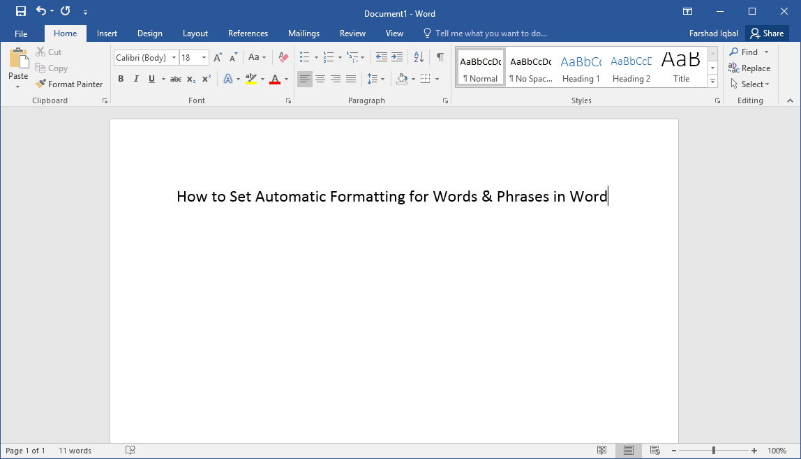 Setting automatic formatting for word