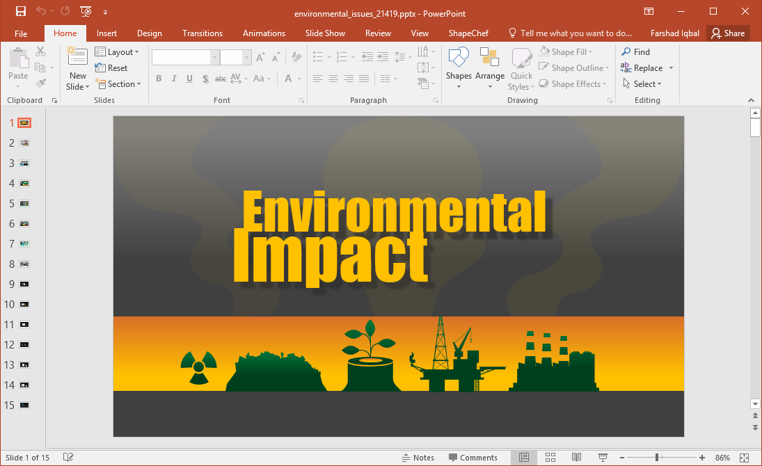 Animated environmental issues powerpoint template for Changes have been made that affect the global template