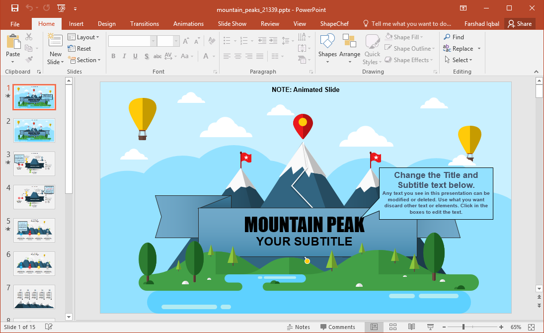 animated mountain peaks template for powerpoint amp keynote