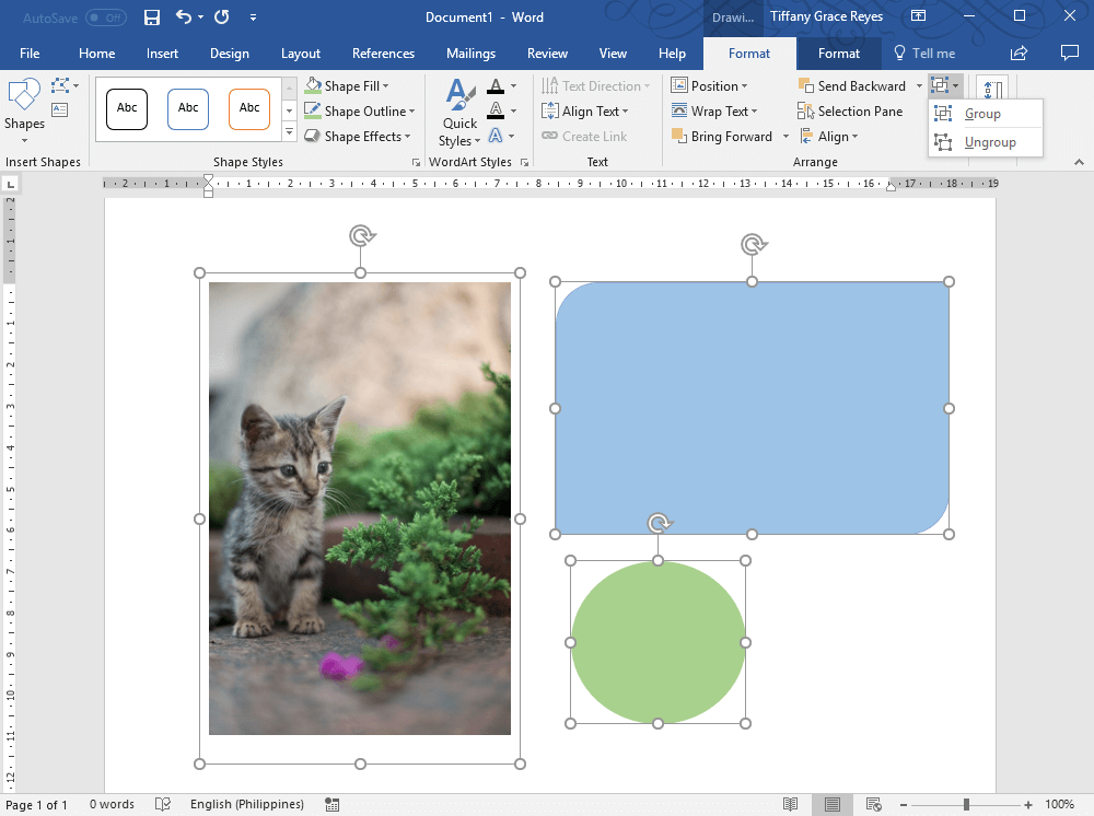 click group option under the Drawing Tools Format tab