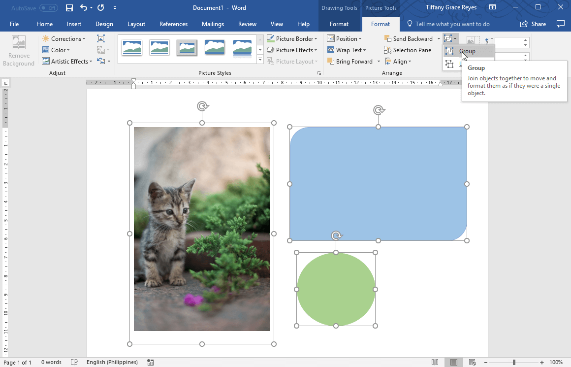 group objects using the group option under Picture Tools Format tab