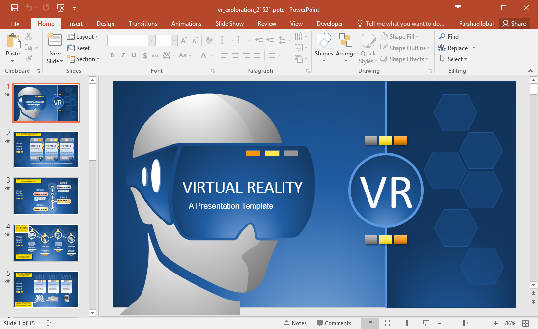Animated Virtual Reality PowerPoint Template