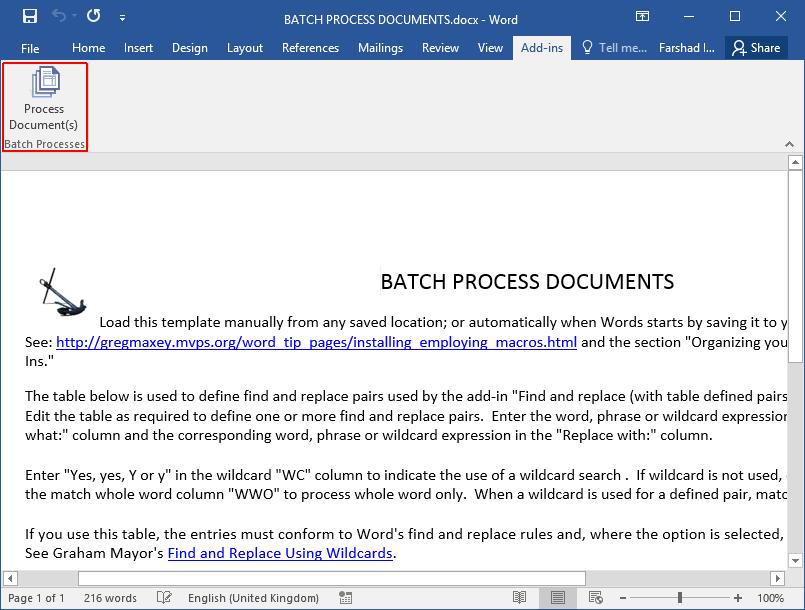 Batch Process Documents