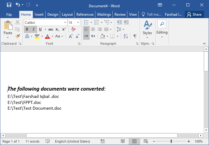 List of Converted Documents
