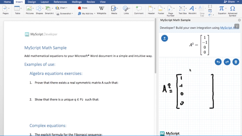 Integrate Math Equations In Word With Myscript Math Sample