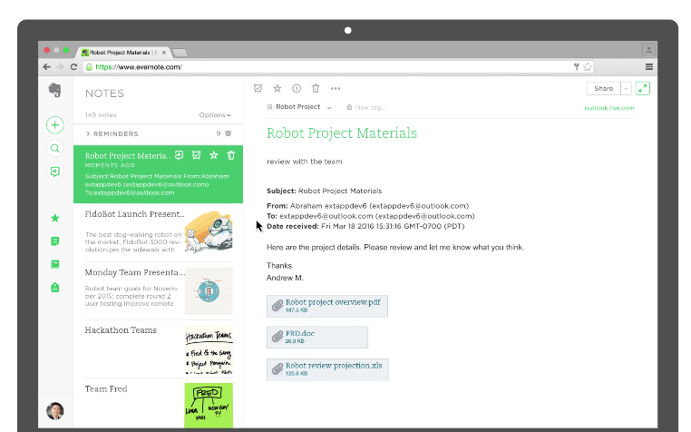 Outlook for Evernote Mac