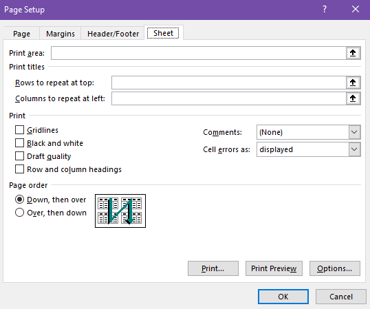 choose rows or columns to repeat in the dialog box
