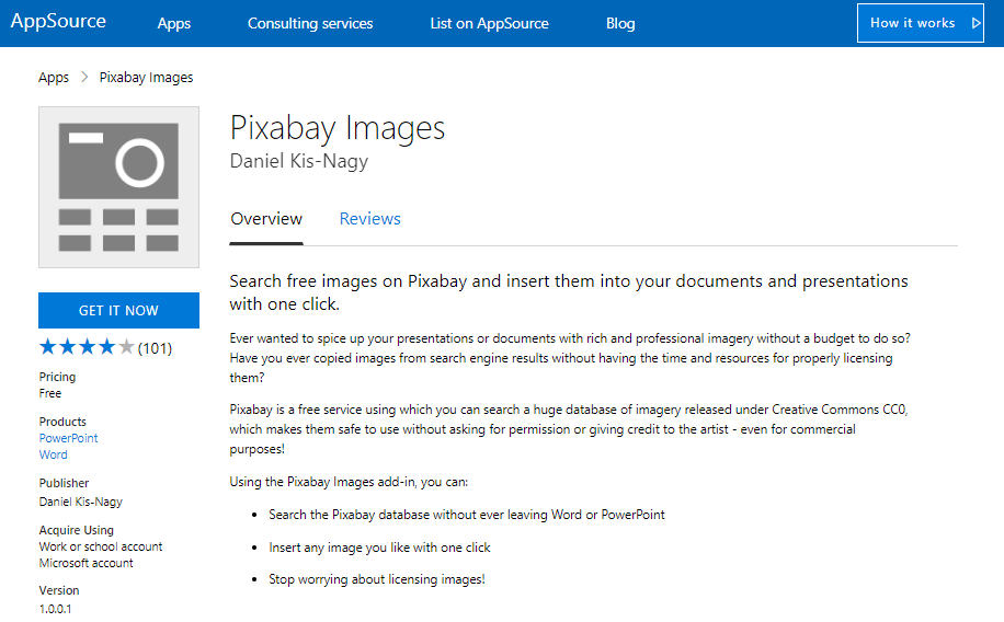 pixabay add-in for word and powerpoint