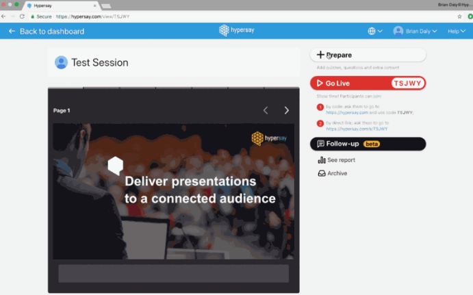 Prepare for your Presentation with Hypersay