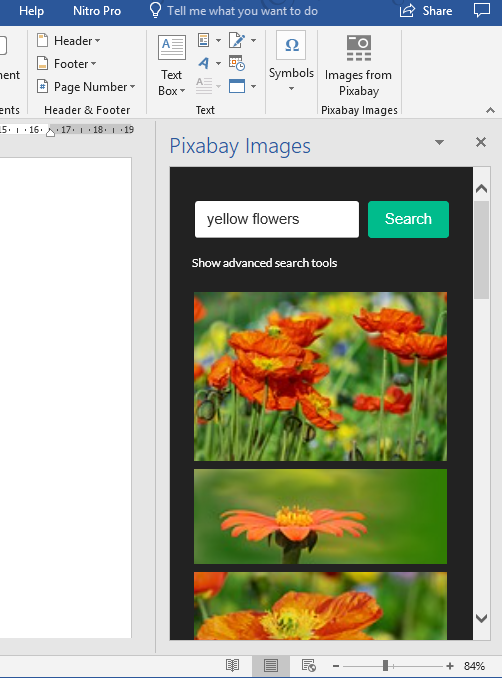 search for images in the pixabay taskpane