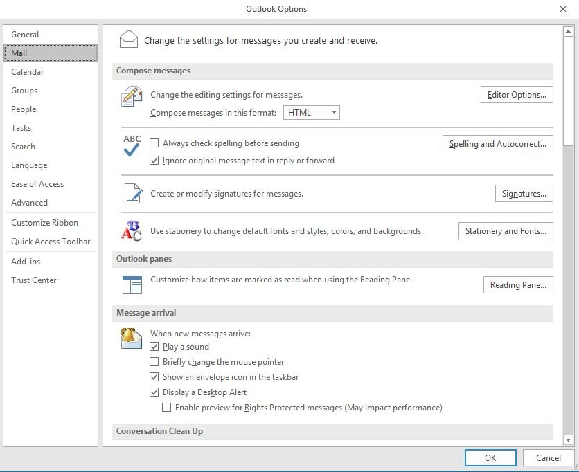 click-on-mail-under-outlook-options
