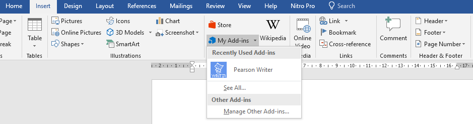 Find-Pearson-Writer-under-Insert-Tab
