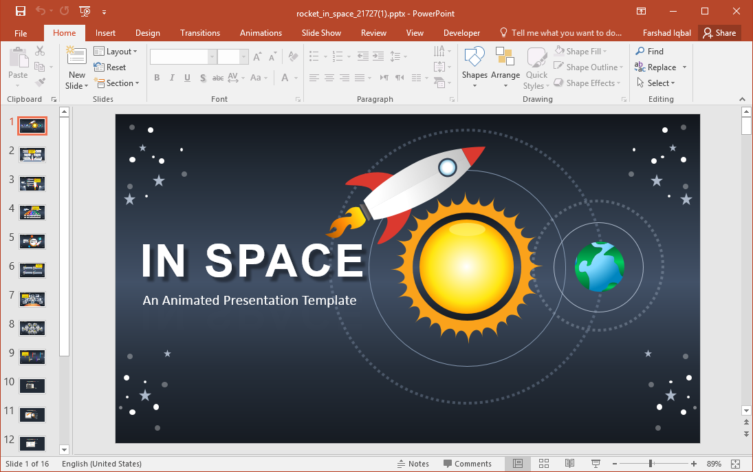 Animated Rocket and Space PowerPoint Template